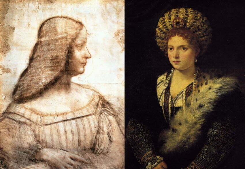 Due ritratti di Isabella d'Este. Disegno di Leonardo da Vnci e tela di Tiziano