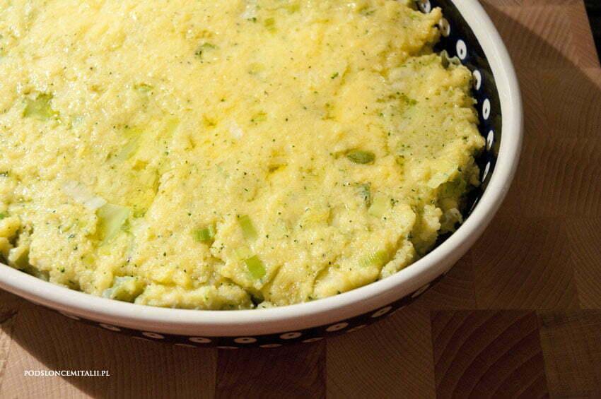 polenta z porem i brokułami