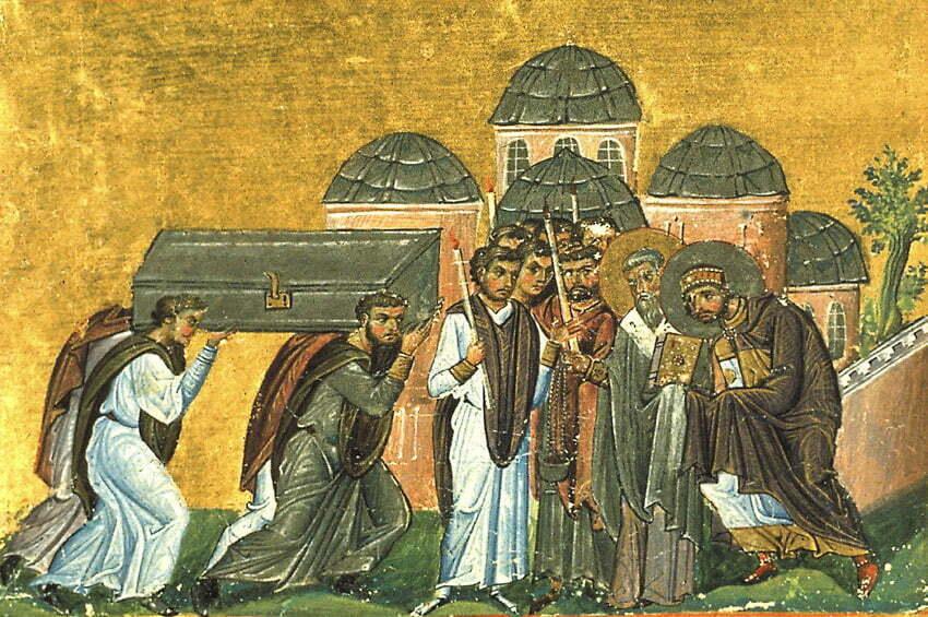 Bizantyńska mozaika z X wieku, przedstawiająca Kościół ŚwiętychApostołów w Konstantynopolu [Public domain], via Wikimedia Commons